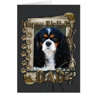 Happy Birthday - Stone Paws - Cavalier - Dad Card