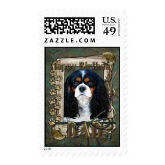 Happy Birthday - Stone Paws - Cavalier - Dad Postage Stamps