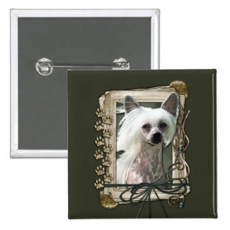 Happy Birthday - Stone Paws -Chinese Crested Kahlo Buttons