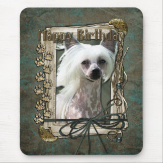 Happy Birthday - Stone Paws -Chinese Crested Kahlo Mouse Pad