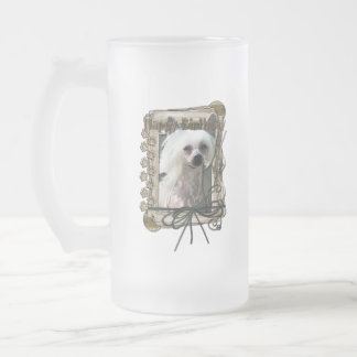 Happy Birthday - Stone Paws -Chinese Crested Kahlo 16 Oz Frosted Glass Beer Mug