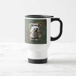 Happy Birthday - Stone Paws -Chinese Crested Kahlo 15 Oz Stainless Steel Travel Mug