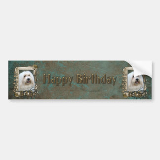 Happy Birthday - Stone Paws - Coton de Tulear -Dad Car Bumper Sticker