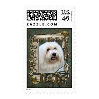 Happy Birthday - Stone Paws - Coton de Tulear -Dad Postage Stamp