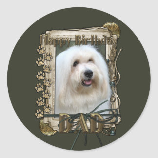 Happy Birthday - Stone Paws - Coton de Tulear -Dad Classic Round Sticker