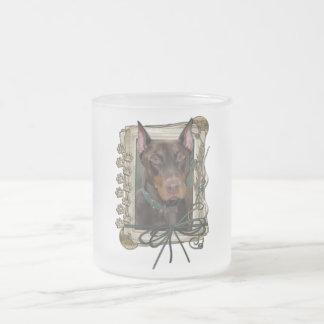 Happy Birthday - Stone Paws - Doberman - Rocky 10 Oz Frosted Glass Coffee Mug
