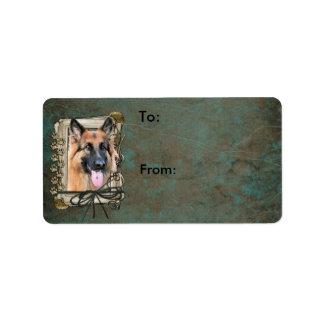 Happy Birthday - Stone Paws German Shepherd Chance Label