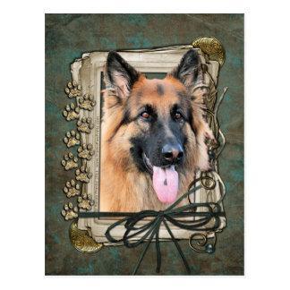 Happy Birthday - Stone Paws - German Shepherd Postcard