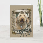 "Happy Birthday - Stone Paws - GoldenDoodle Card<br><div class=""desc"">What could say Happy Birthday better than this GoldenDoodle Dog helping you to celebrate!</div>"
