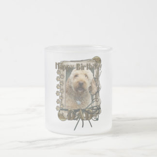 Happy Birthday - Stone Paws - GoldenDoodle - Dad 10 Oz Frosted Glass Coffee Mug
