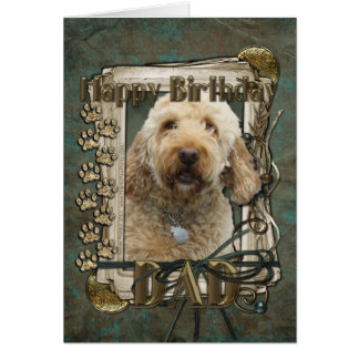 Happy Birthday - Stone Paws - GoldenDoodle - Dad Card