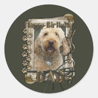 Happy Birthday - Stone Paws - GoldenDoodle - Dad Classic Round Sticker
