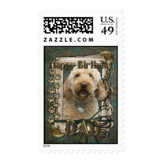 Happy Birthday - Stone Paws - GoldenDoodle - Dad Stamp