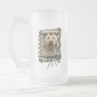 Happy Birthday - Stone Paws - GoldenDoodle Frosted Glass Beer Mug