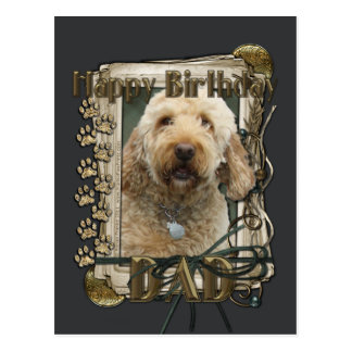 Happy Birthday - Stone Paws - GoldenDoodle Postcard