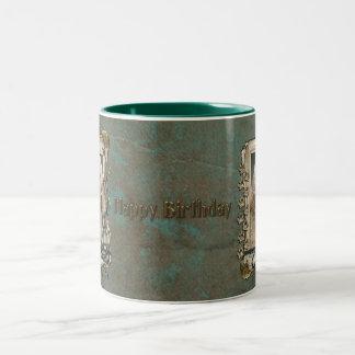 Happy Birthday - Stone Paws - GoldenDoodle Two-Tone Coffee Mug