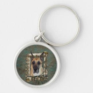 Happy Birthday - Stone Paws - Great Dane - Dad Silver-Colored Round Keychain