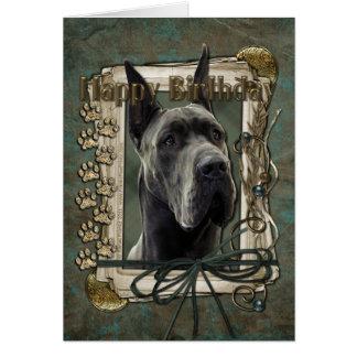 Happy Birthday - Stone Paws - Great Dane - Grey Greeting Card