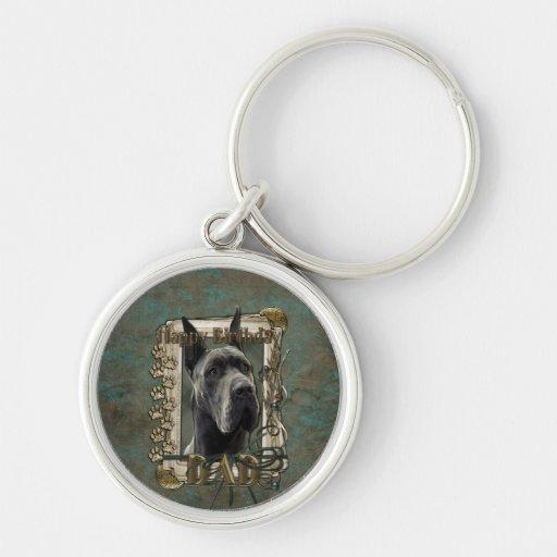 Happy Birthday - Stone Paws - Great Dane -Grey Dad Silver-Colored Round Keychain