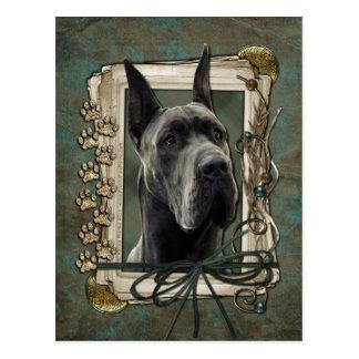 Happy Birthday - Stone Paws - Great Dane - Grey Postcard