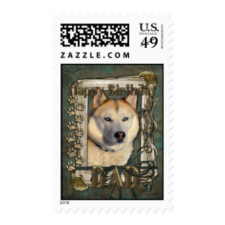 Happy Birthday - Stone Paws - Husky - Copper - Dad Postage Stamps