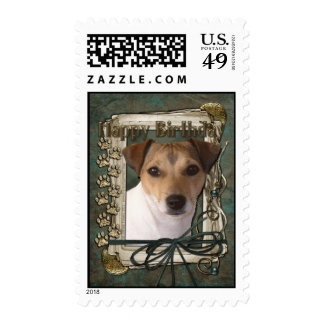 Happy Birthday - Stone Paws - Jack Russell Stamp
