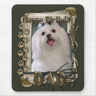 Happy Birthday - Stone Paws - Maltese - Dad Mouse Pad
