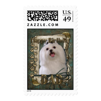 Happy Birthday - Stone Paws - Maltese - Dad Stamps