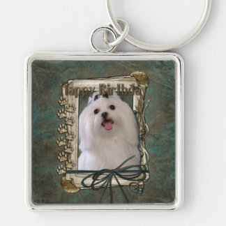 Happy Birthday - Stone Paws - Maltese Silver-Colored Square Keychain
