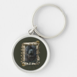 Happy Birthday - Stone Paws - Newfoundland Silver-Colored Round Keychain