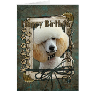 Happy Birthday - Stone Paws - Poodle - Apricot Card