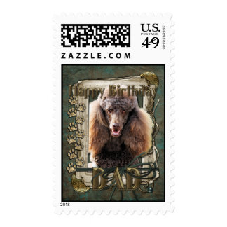 Happy Birthday - Stone Paws - Poodle Chocolate Dad Postage Stamps