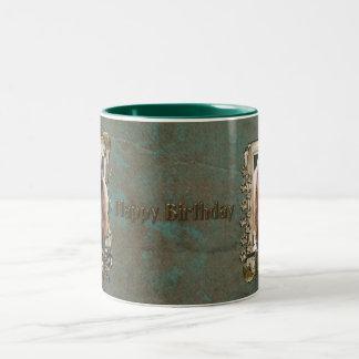 Happy Birthday - Stone Paws - Poodle Chocolate Dad Two-Tone Coffee Mug