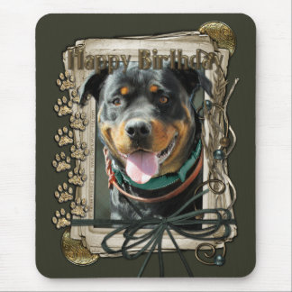 Happy Birthday - Stone Paws -Rottweiler SambaParTi Mouse Pad