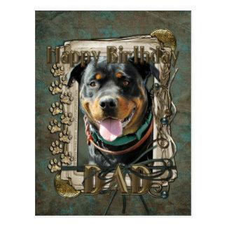 Happy Birthday - Stone Paws -Rottweiler SambaParTi Postcard
