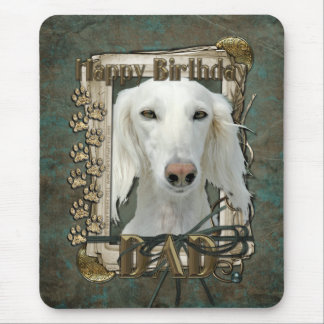 Happy Birthday - Stone Paws - Saluki - Dad Mouse Pad
