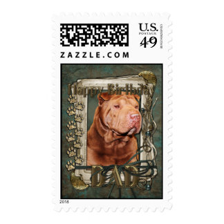 Happy Birthday - Stone Paws - Shar Pei - Lucky Dad Stamps