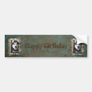 Happy Birthday - Stone Paws - Siberian Husky Bumper Sticker