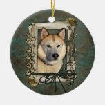 Happy Birthday - Stone Paws -Siberian Husky Copper Double-Sided Ceramic Round Christmas Ornament