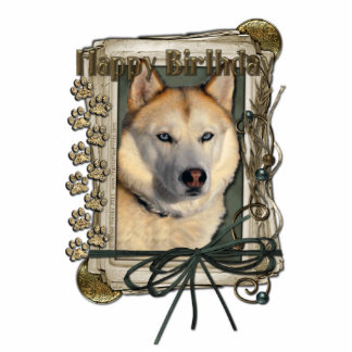Happy Birthday - Stone Paws -Siberian Husky Copper Statuette