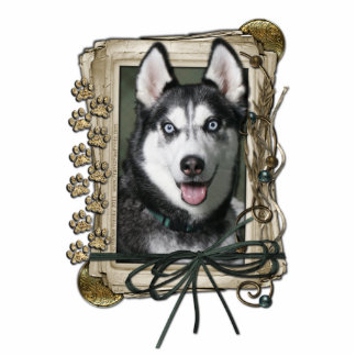 Happy Birthday - Stone Paws - Siberian Husky Statuette