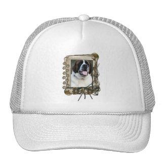 Happy Birthday - Stone Paws - St Bernard - Mae Dad Trucker Hats