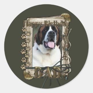 Happy Birthday - Stone Paws - St Bernard - Mae Dad Round Stickers