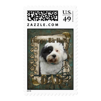 Happy Birthday - Stone Paws - Tibetan Terrier -Dad Stamps