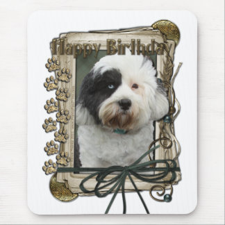Happy Birthday - Stone Paws - Tibetan Terrier Mouse Pad