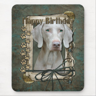 Happy Birthday - Stone Paws - Weimeraner Mouse Pad