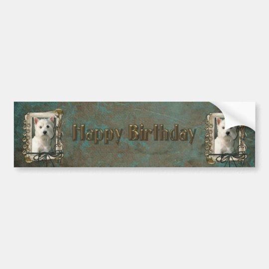 Happy Birthday - Stone Paws -West Highland Terrier Bumper Sticker