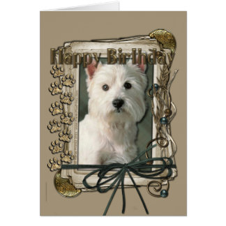 Happy Birthday - Stone Paws -West Highland Terrier Card