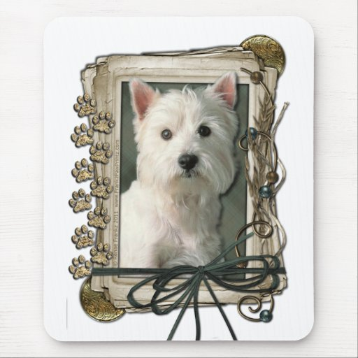 Happy Birthday - Stone Paws -West Highland Terrier Mousepad