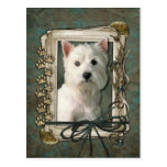 Happy Birthday - Stone Paws -West Highland Terrier Post Card